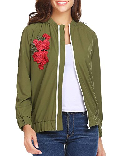Elover Womens Casual Slim Fit Round Neck Embroidered Baseball Bomber Jacket (Army Green, (Green Embroidered Jacket)