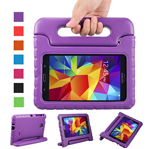 NEWSTYLE Shockproof Light Weight Kids Case with Protection Cover Handle and Stand for Samsung Galaxy Tab 4 7-inch, SM-T230, SM-T231, SM-T235 - Purple Not Fit Other Tablet (Samsung 4 Stand)