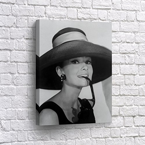 BUY4WALL Audrey Hepburn Wall Art Canvas Print Breakfast at Tiffany`s Sunglasses and Big Hat Vintage Home Decor Decorative Framed Artwork - Ready to Hang - %100 Handmade in the USA - Audrey Tiffany Hepburn Sunglasses