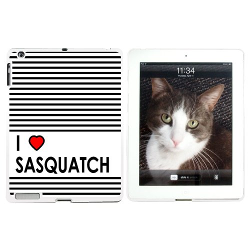 I Love Heart Sasquatch - Bigfoot - Snap On Hard Protective Case for Apple iPad 2 3 4 - White