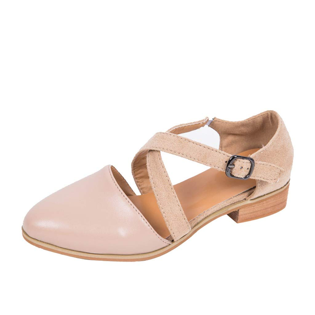 SSYongxia❤ Girls Women's Casual Elegant Ankle Strap Closed Toe Chunky Heeled Sandals for Dress Khaki