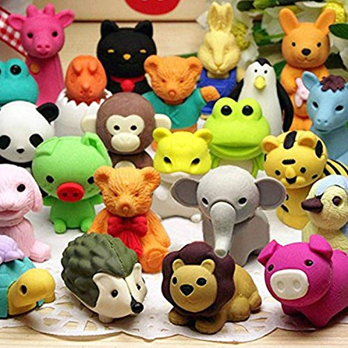 Axe Sickle 30 pcs Non-Toxic Pencil Erasers, Removable Assembly Zoo Animal Erasers for Party Favors, Fun Games Prizes,Kids Puzzle Toys. ()