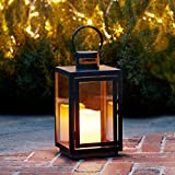 Lights4fun Regular Black Metal Battery Operated Outdoor LED Candle Lantern