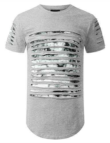 URBANCREWS Mens Hipster Hip Hop Tie Dyed Ripped Longline T-shirt HGRAY XXLARGE (Tie Dyed Shirt)