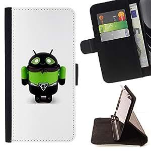 Momo Phone Case / Flip Funda de Cuero Case Cover - Toy Robot Verde Abeja Monster Hombre - Samsung Galaxy Note 5 5th N9200