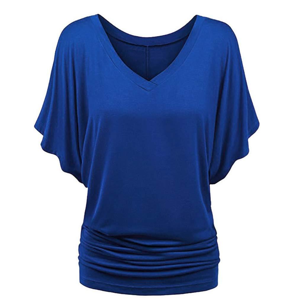 Makeupstory T Shirt White, Blouse for Women Denim,Fashion Women Plus Size Solid V-Neck Short Sleeve Ruched Top Blouse T-Shirt