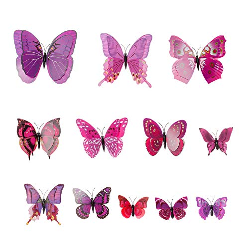 AWAYTR Butterfly Hair Clip Double Wings Realistic 12Pcs DIY Handmade Design Fairy Hair Clips Set for -