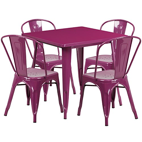 Flash Furniture 31.5'' Square Purple Metal Indoor-Outdoor Table Set with 4 Stack Chairs (Purple Patio Furniture)