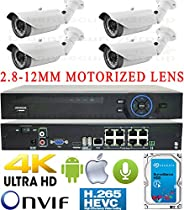 USG Business Grade H.265 4MP 8 Camera HD Security System : Ultra 4K Security NVR + 4x 4MP 2592x1520 2.8-12mm MOTORIZED LENS Bullet Cameras + 1x 4TB HDD : Apple Android Phone App