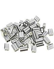 50 Stuks Adereindhulzen Aluminium, Zilverkleurige Aluminium Hulzen, Crimp Loop Aluminum Sleeves, voor Hondentouw, Waslijn of Andere Objecten Die Een Stevige Kabel Nodig Hebben (3mm)