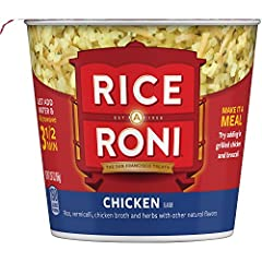 Now you can enjoy the great taste of Rice-A-Roni in convenient, single-serve cups that you cook in your microwave. Chicken flavor blends rice and vermicelli with chicken broth, onions, parsley, garlic and other natural flavors to create a del...