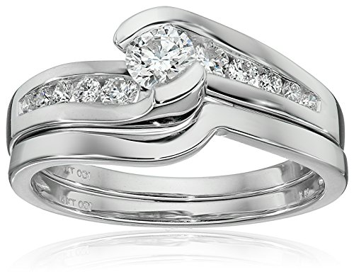 IGI-Certified-14k-White-Gold-Diamond-Channel-Bridal-Wedding-Ring-Set-58-cttw-H-I-Color-I1-I2-Clarity
