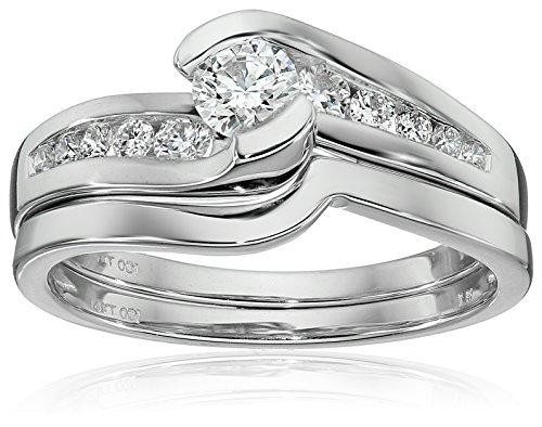 IGI-Certified-14k-White-Gold-Diamond-Channel-Bridal-Wedding-Ring-Set-58-cttw-H-I-Color-I1-I2-Clarity