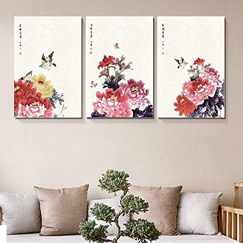 3 Panel Chinese Ink Painting of Flowers and Birds x 3 Panels