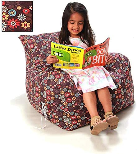 Wow Works Cool Bean Bag Chair Upholstered Beanbag Lounger Armchair w Side Pocket, Medium-Sized, Floral Expressions Brown Multicolor