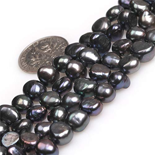 Freshwater Cultured Pearl Beads for Jewelry Making Gemstone Semi Precious 7-8mm Freeform Black 15