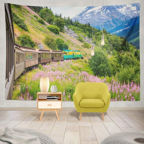 ONELZ Decor Collection, Alaska Scenic White Route Railroad Bedroom Living Room Dorm Wall Hanging Tapestry 60 L X 80 W Polyester Polyester Blend