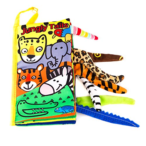 Leeotia Jungle Animal Tail Cloth Books/ Fabric Activity Crinkle Book, Handmade Educational Toys for Baby, 1 Year Old, Gift for Babies/Toddler (Jungle-01)