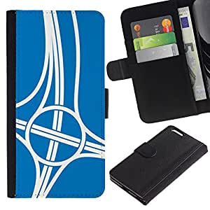 Be-Star la tarjeta de Crédito Slots PU Funda de cuero Monedero caso cubierta de piel Para Apple (5.5 inches!!!) iPhone 6+ Plus / 6S+ Plus ( Sport Intersection Road Engineer Blue )