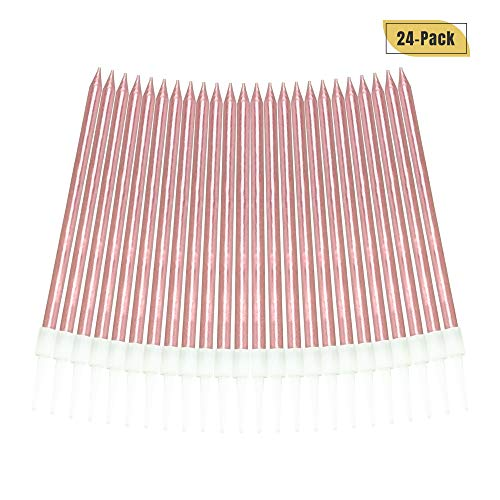 Aplusplanet 24 Count Pink Birthday Candles, Metallic Long Thin Pink Cake Candles in Holders for Cupcake Wedding Cake Birthday Cake Party Cake -