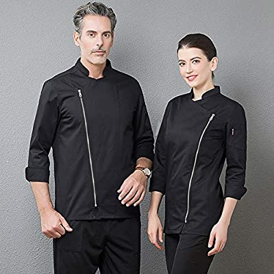 WYCDA Camisa de Cocinero Cocina Uniforme Manga Larga Absorción de Humedad Antiincrustante Disfraz de Chef Protección del Medio Ambiente Sin Manchas,Blacklongsleeves,XL: Amazon.es: Hogar