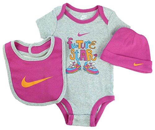 Nike Baby Girl 3-pc Bodysuit, Bib, & Cap Layette Set (6/9 Months, Grey)
