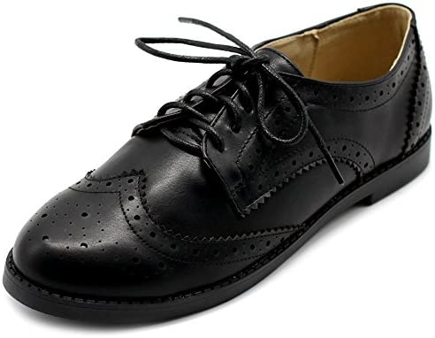 Ollio Zapatillas de Flats Mujer Wingtip Lace Up Oxfords