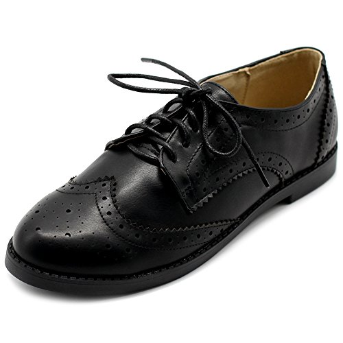 Ollio Women's Flats Shoes Wingtip Lace Up Oxfords M2921 (9 B(M) US, Black)
