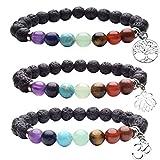 Top Plaza 7 Chakra Lava Stone Aromatherapy Essential Oil Diffuser Bracelet Reiki Crystal Healing Yoga Meditation Gemstone Beads W/Tree of Life/OM/Lotus Charm
