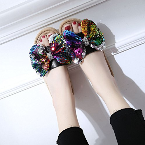Flat Cool Butterfly Summer Beach Sequins weiwei Ladies Slippers Bottom Slippers B Knot xTEF7qn