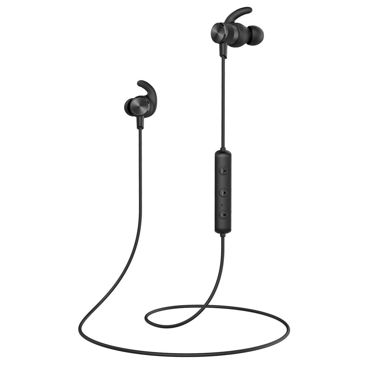 Bluetooth Headphones, Voksun Bluetooth 5.0 Magnetic Wireless IPX6 Earbuds for Sports Workout in-Ear Earphones with Metallic Housing Built-in Mic,Black