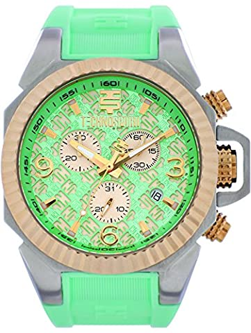 TechnoSport TS-100-5RL Womens Aquamarine Silicone Band, Gold Bezel, 40MM Aqua and Gold Dial,Stainless Steel Chronograph (Gold Mercer Watch)