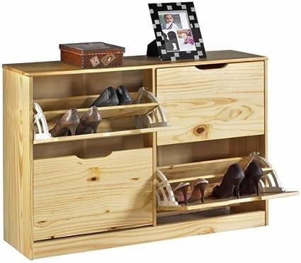 en pin massif lasur/é couleur miel Meuble /à chaussures BASIL armoire avec 2 x 2 abattants rangement pour 24 paires