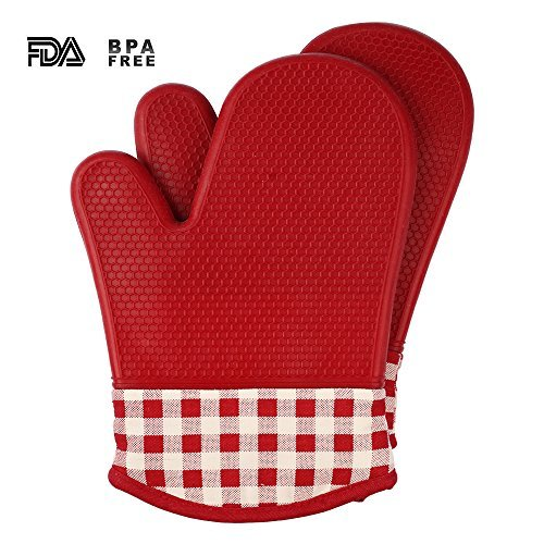 51AzmH3lypL - Jonhen Heat Resistant Silicone Oven Mitts Non-Slip with Cotton Lining for Kitchen Baking, Cooking, Barbeque (BBQ) - Potholder Gloves 1 Pair, Bonus Brush & Pot Holder (blue)