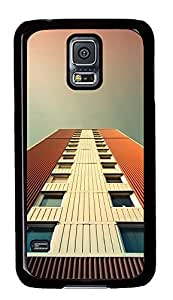 Samsung Galaxy S5 White And Orange Building PC Custom Samsung Galaxy S5 Case Cover Black