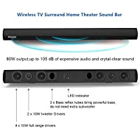 Sound Bar 80W 38-Inch 6 Speakers Wireless Bluetooth and Wired Soundbar(3D Surround Sound System,105db Loud Audio Output, Remote Control, Wall Mountable, Great for TVs, Projector, PC, Smart Phone) by Wohome