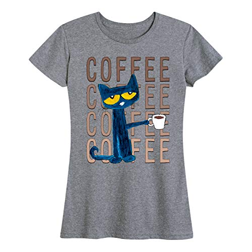 Pete the Cat Pete with Coffee Adult - Ladies Short Sleeve Classic Fit Tee