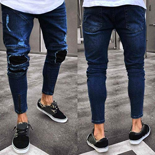 Los Vaqueros Destroyed Vaqueros Stretch Hombres Skinny Dunkelblau Pantalones Slim Pants De Closure Slim Pantalones Denim Pants Fit Jeans ECfqcUwX