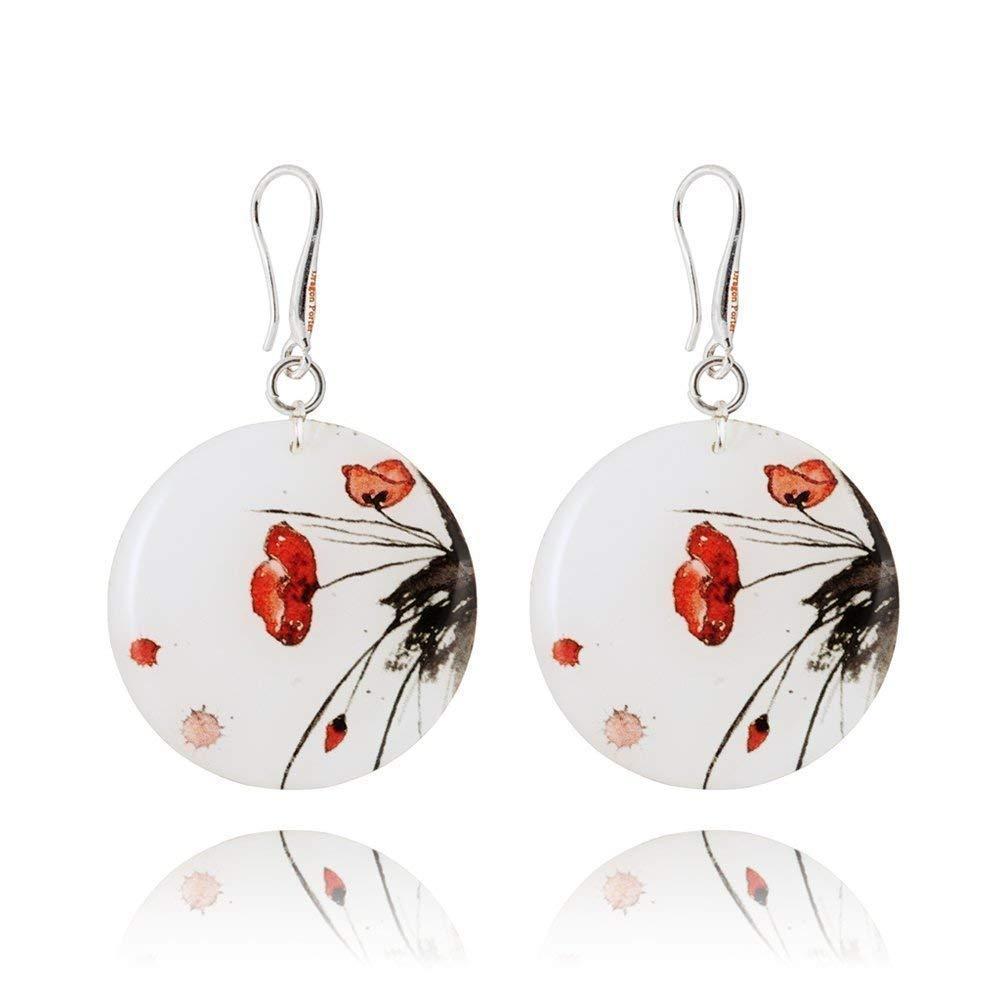 Romantische Ohrringe mit Roter Mohnblume auf Wei/ß f/ür Sie