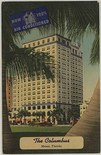 The Columbus Bayfront Hotel - Miami Biscayne Bay Florida - 1951 Vintage Linen Advertising Postcard