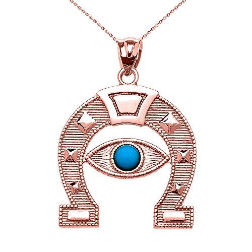Collier Femme Pendentif 10 ct Or Rose Mauvais Oeil Protection Fer A Cheval Bonne Chance (Livré avec une 45cm Chaîne)