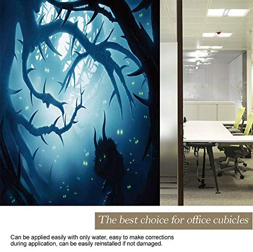 YOLIYANA Flash Glass Sticker Heat Insulation Mystic House Decor Animal with Burning Eyes in Dark Forest at Night Horror Halloween Illustration for Privacy Office Meeting Room 17