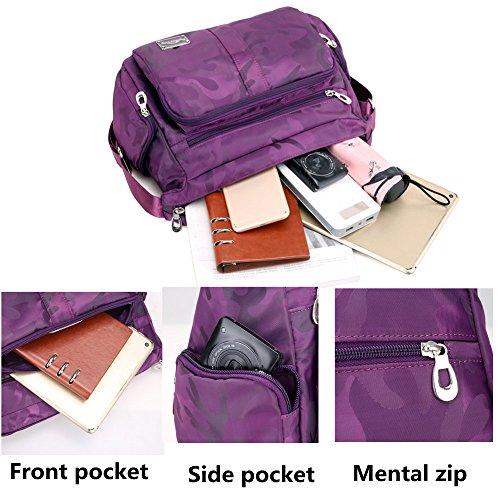 Purple Bags Bag Zipper Shoulder Nylon body Cross with Camo Casual Womens Pockets Messenger Lightweight XUwpfqvnW7