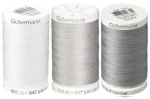 Nu-White, Mist Grey & Slate - 3-Pack Bundle of Gutermann Sew-All Thread - 547 Yards each by Gutermann