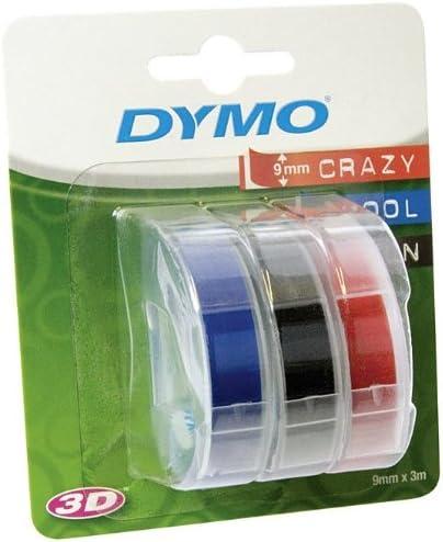 9mm weiß auf schwarz für Dymo Junior 5x Prägeband Schriftband Kassette 3D