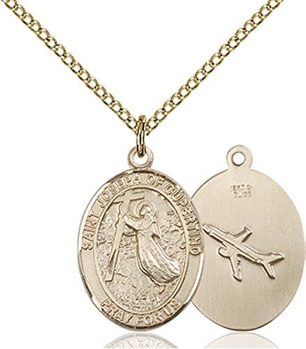 14K Gold Filled Saint Joseph of Cupertino Medal Pendant, 3/4 ()