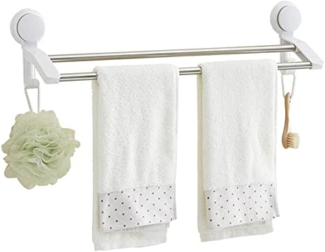 Stainless Steel Vacuum Wall Suction Cup Double Towel Hook Holder Hanger Rack Y2