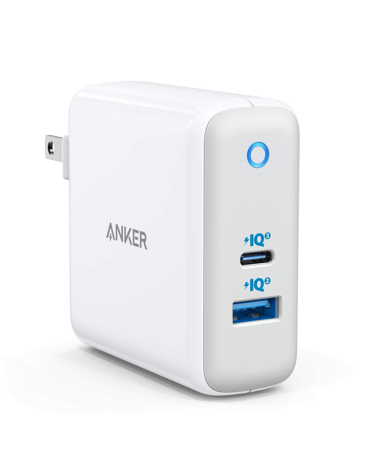 USB C Charger, Anker 60W PIQ 3.0 & GaN Tech Dual Port Charger, PowerPort Atom III (2 Ports) Travel Charger with a 45W USB C Port, for USB-C Laptops, MacBook, iPad Pro, iPhone, Galaxy, Pixel and More by Anker