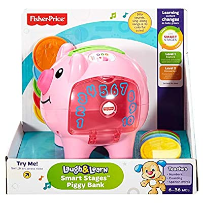 Fisher-Price Laugh & Learn Smart Stages Piggy Bank, Standard Packaging: Toys & Games