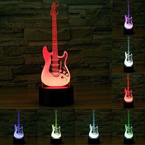 Bone Red Guitars (Electric Guitar Shape 7 Colour Discoloration Creative Visual Stereo Lamp 3D Touch Switch Control LED Light Desk Lamp Night Light)